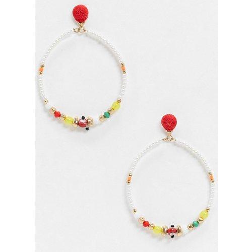 Boucles d'oreilles ornées de perles multicolores - ASOS DESIGN - Modalova