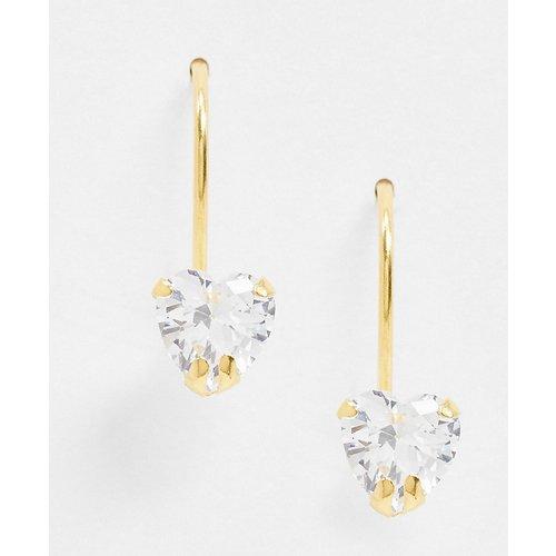 Boucles d'oreilles traversantes en argent massif plaqué or avec clou en cristal - ASOS DESIGN - Modalova
