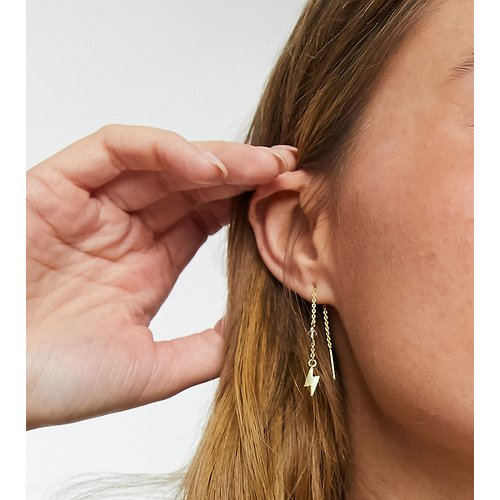 Boucles d'oreilles traversantes en argent massif plaqué or avec détail éclair - ASOS DESIGN - Modalova