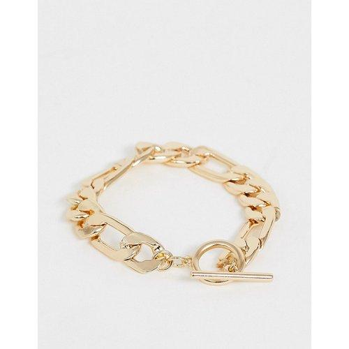 Bracelet chaîne à maillons plats avec barre en T - Doré - ASOS DESIGN - Modalova
