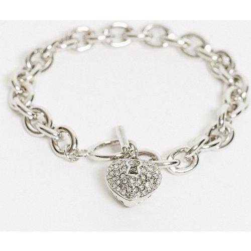 Bracelet chaîne avec barre en T et breloque cœur strassée - ASOS DESIGN - Modalova