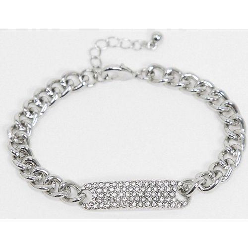Bracelet chaîne avec plaque d'identité ornée de cristaux - ASOS DESIGN - Modalova