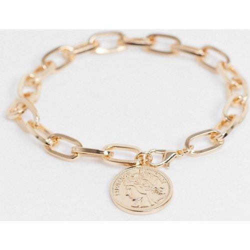 Bracelet chaîne mi-épais 7 mm avec pendentif pièce - brillant - ASOS DESIGN - Modalova