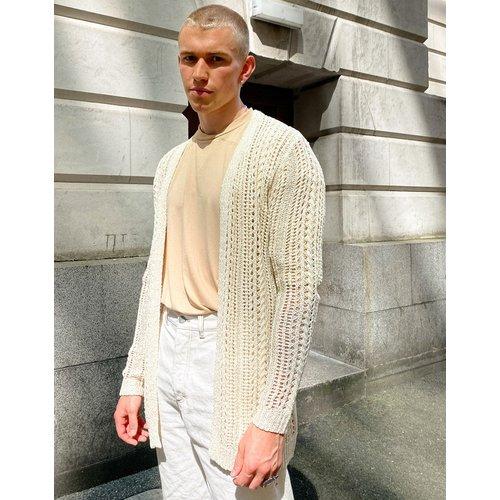Cardigan long en maille crochetée - ASOS DESIGN - Modalova