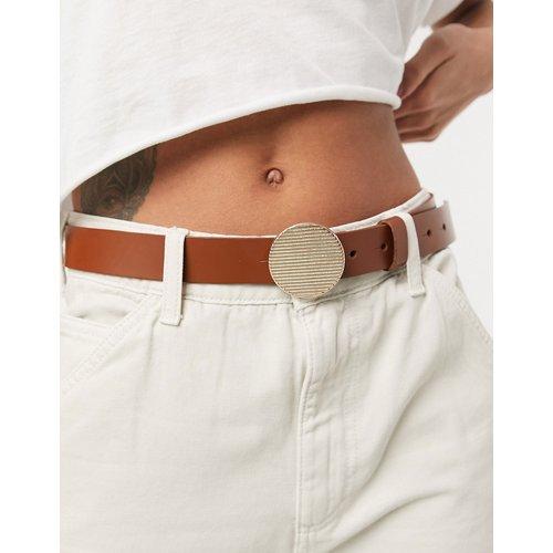 Ceinture taille et hanches en cuir pour jean avec boucle ronde - Beige - ASOS DESIGN - Modalova
