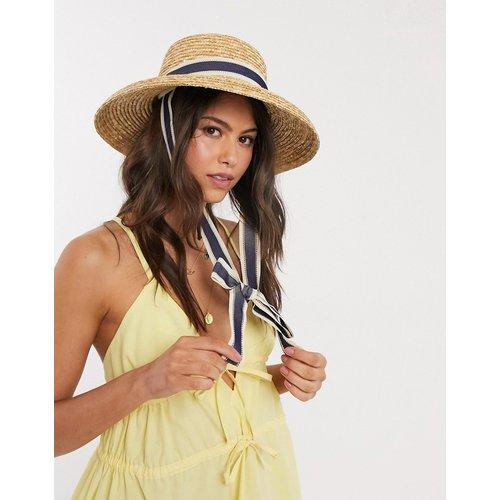 Chapeau de paille à bord incurvé avec liens amovibles - Naturel - ASOS DESIGN - Modalova
