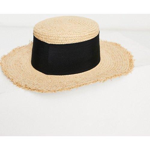 Chapeau de paille à bords courts bruts et galon épais avec taille ajustable - ASOS DESIGN - Modalova