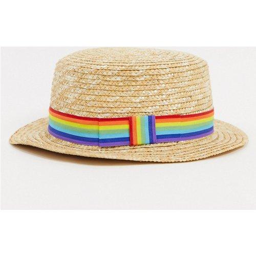 Chapeau de paille avec bande contrastante arc-en-ciel - ASOS DESIGN - Modalova