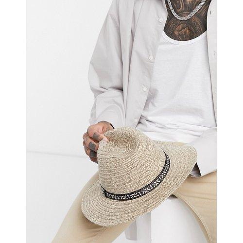 Chapeau de paille avec bande contrastante - Ecru - ASOS DESIGN - Modalova