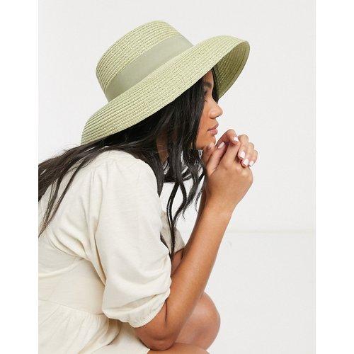Chapeau de paille avec bord retourné à taille ajustable - Pistache - ASOS DESIGN - Modalova