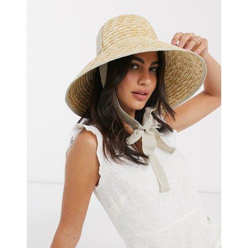 Chapeau de paille avec calotte haute et bande claire - Naturel - ASOS DESIGN - Modalova