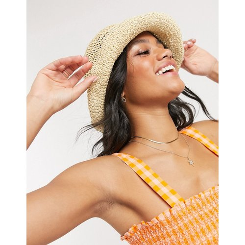 Chapeau de paille rabattable avec taille ajustable - Naturel - ASOS DESIGN - Modalova