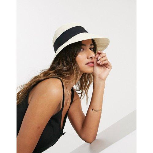 Chapeau de paille réglable à bordure étroite avec ruban noir - ASOS DESIGN - Modalova