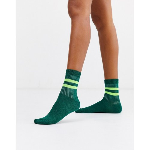 Chaussettes côtelées à rayures et paillettes - et fluo - ASOS DESIGN - Modalova