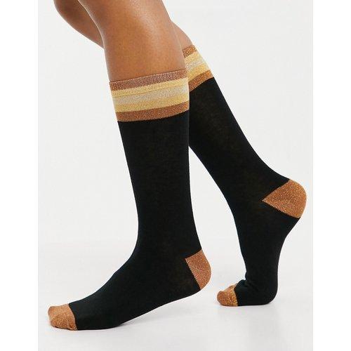 Chaussettes longueur mi-mollet à rayures pailletées - Noir et doré - ASOS DESIGN - Modalova