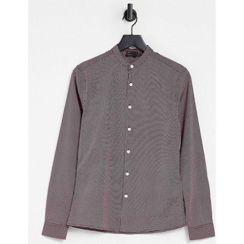 Chemise coupe slim à carreaux avec col grand-père - Bourgogne - ASOS DESIGN - Modalova