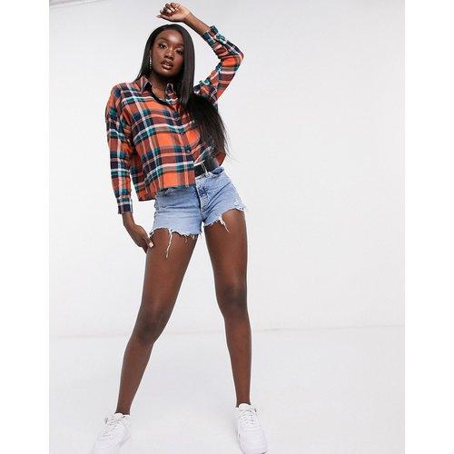 Chemise courte à manches longues - Orange à carreaux - ASOS DESIGN - Modalova