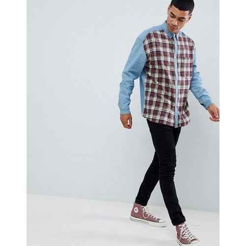 Chemise en jean oversize avec carreaux sur le devant - ASOS DESIGN - Modalova