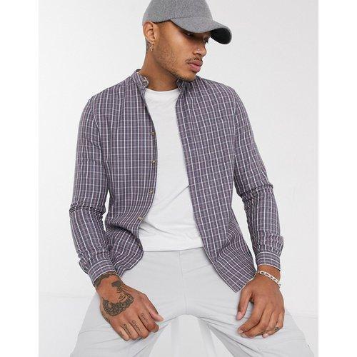 Chemise slim à carreaux avec col grand-père - cendré - ASOS DESIGN - Modalova