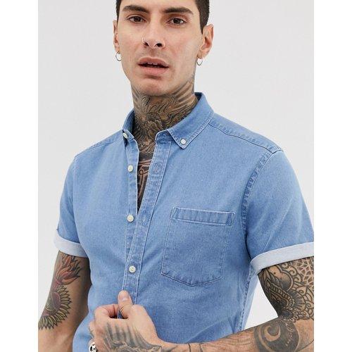 Chemise stretch ajustée en jean à délavage clair - ASOS DESIGN - Modalova