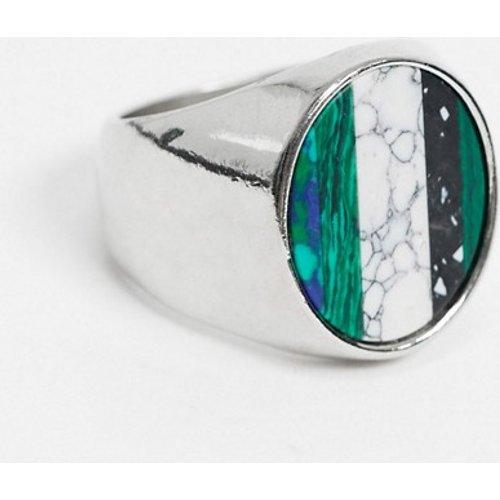 Chevalière avec pierre à rayures - ASOS DESIGN - Modalova