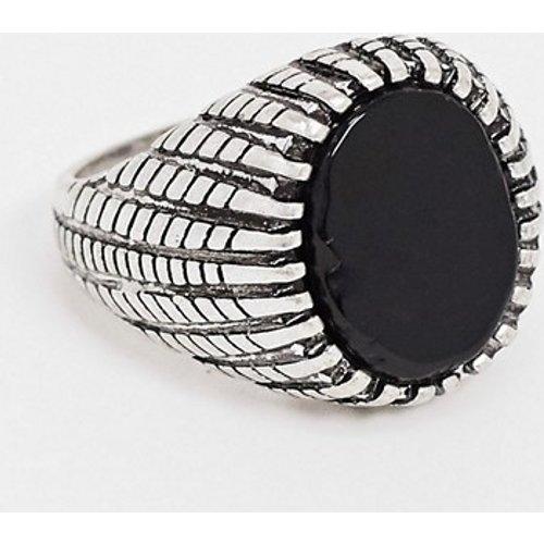 Chevalière avec pierre onyx noire - ASOS DESIGN - Modalova