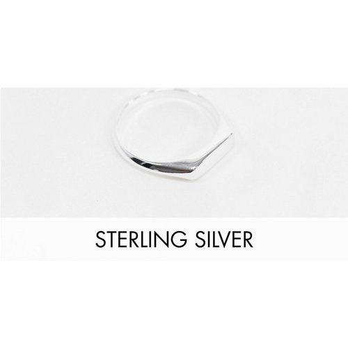 Chevalière minimaliste en argent massif - Argent - ASOS DESIGN - Modalova