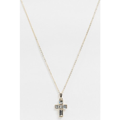 Collier à pendentif croix en strass - ASOS DESIGN - Modalova