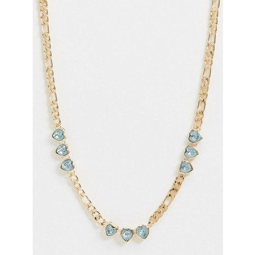 Collier avec cœurs en cristaux et chaîne à maille alternée - ASOS DESIGN - Modalova