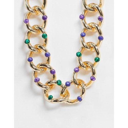 Collier chaîne avec pierres fantaisie - Or - ASOS DESIGN - Modalova
