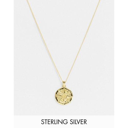 Collier chaîne fin 1 mm avec pendentif compas en argent massif plaqué or 14k - ASOS DESIGN - Modalova