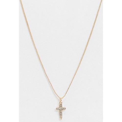 Collier chaîne fin 2 mm avec pendentif croix et cristaux Swarovski - ASOS DESIGN - Modalova
