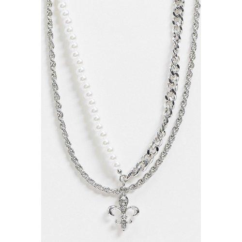 Collier chaîne gourmette multi rang avec perles et pendentif fleur de lys - ASOS DESIGN - Modalova