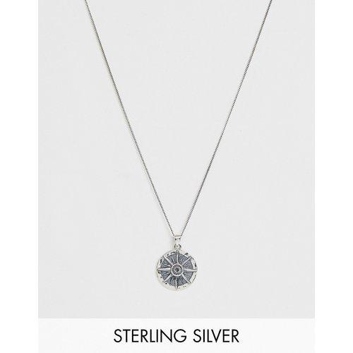 Collier en argent massif avec pendentif boussole - ASOS DESIGN - Modalova
