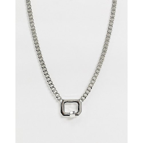Collier en chaîne gourmette avec pendentif cadenas métallique - ASOS DESIGN - Modalova