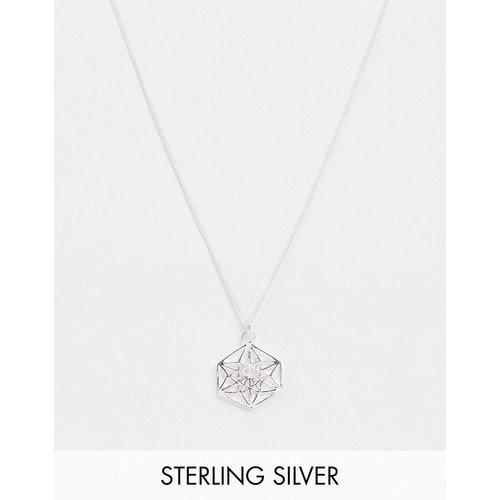 Collier fin 1 mm en argent massif avec pendentif géométrique - ASOS DESIGN - Modalova