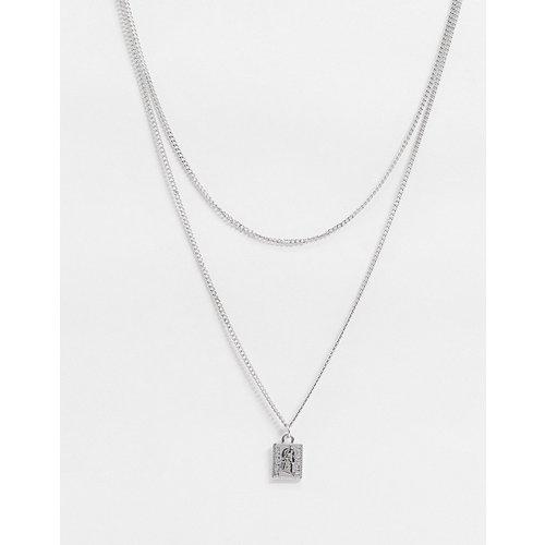 Collier fin multi-rangs 2 mm avec pendentif carré - ASOS DESIGN - Modalova