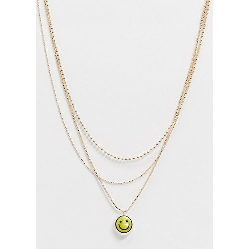 Collier multi-rangs avec pendentif smiley en perle - ASOS DESIGN - Modalova