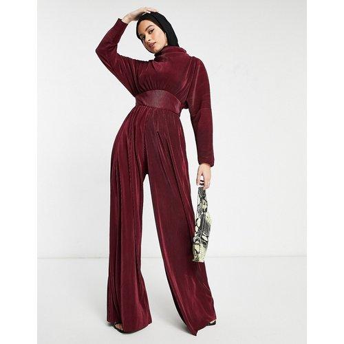 Combinaison large et plissée en jersey avec col montant - Lie-de-vin - ASOS DESIGN - Modalova