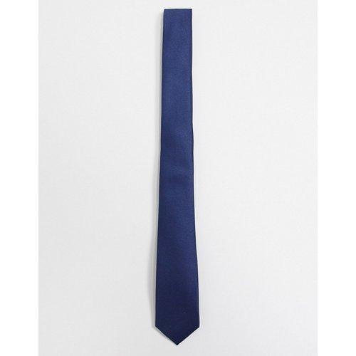 Cravate fine en satin - Bleu marine - ASOS DESIGN - Modalova