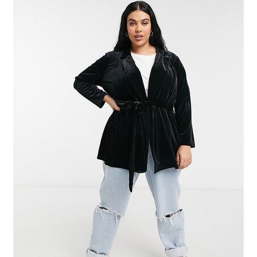 ASOS DESIGN Curve - Blazer croisé de tailleur en jersey et velours - ASOS Curve - Modalova