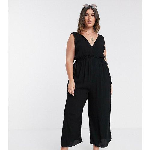 ASOS DESIGN Curve - Combinaison confort minimaliste coupe large à ceinture cordon - Noir - ASOS Curve - Modalova