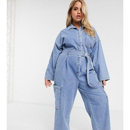 ASOS DESIGN Curve - Combinaison en jean avec poches fonctionnelles - délavé clair - ASOS Curve - Modalova