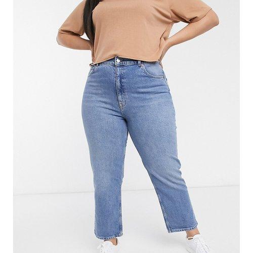 ASOS DESIGN Curve - Jean droit slim stretch à taille haute - Délavage moyen authentique - ASOS Curve - Modalova