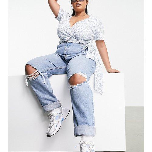 ASOS DESIGN Curve - Jean mom ample taille haute à déchirures - Délavé - ASOS Curve - Modalova