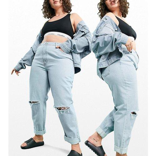 ASOS DESIGN Curve - Jean mom large déchiré à taille haute - Délavage de couleur vive - ASOS Curve - Modalova