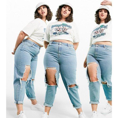ASOS DESIGN Curve - Original - Jean mom déchiré à taille haute - moyen délavé - ASOS Curve - Modalova