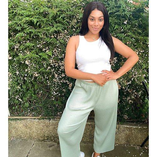 ASOS DESIGN Curve - Pantalon plissé style jupe-culotte - Sauge - ASOS Curve - Modalova