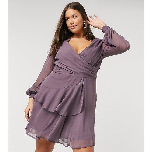 ASOS DESIGN Curve- Robe courte à taille croisée avec jupe double épaisseur et manches longues- Mauve - ASOS Curve - Modalova