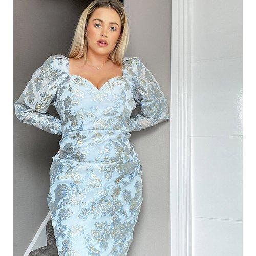 Curve - Robe courte rétro en jacquard de première qualité avec encolure cœur plongeante - ASOS Luxe - Modalova